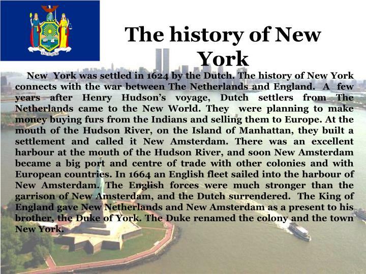 The history of New York