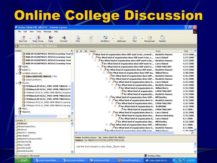 Online College Discussion