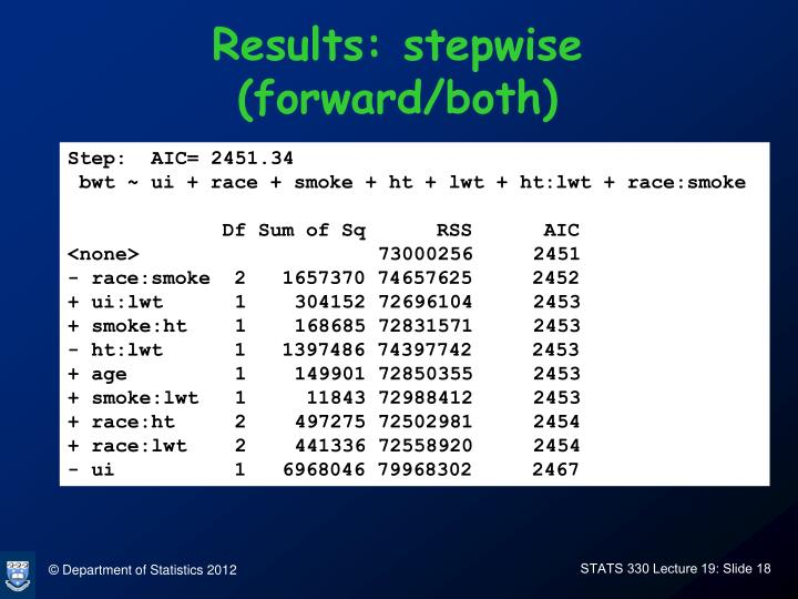 Results: stepwise (forward/both)