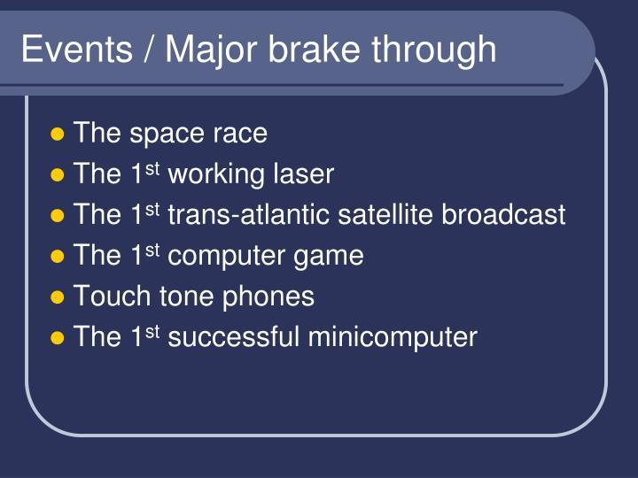 Events / Major brake through
