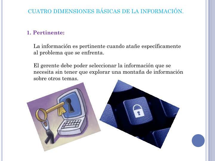 CUATRO DIMENSIONES BÁSICAS DE LA INFORMACIÓN.