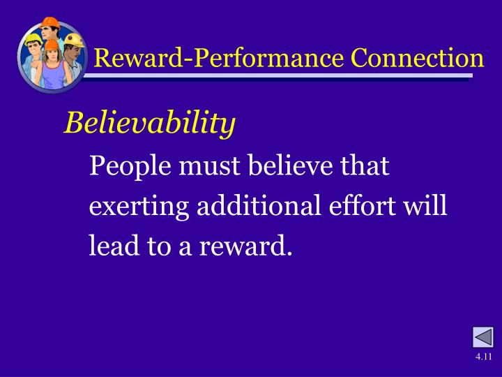 Reward-Performance Connection
