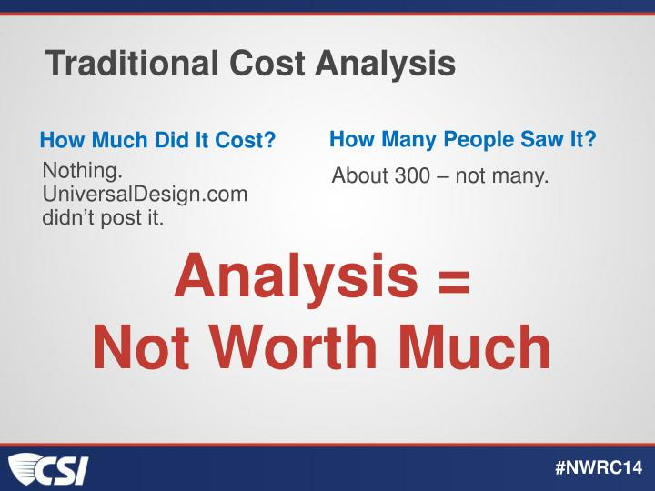 Traditional Cost Analysis