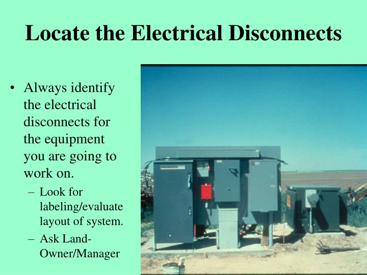 Locate the Electrical Disconnects