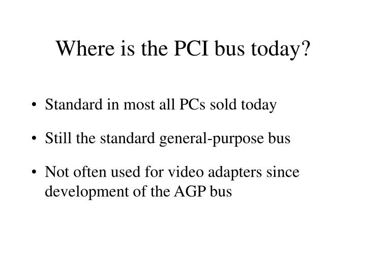 Where is the PCI bus today?