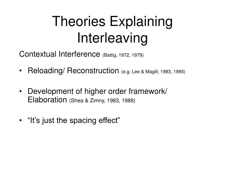 Theories Explaining Interleaving