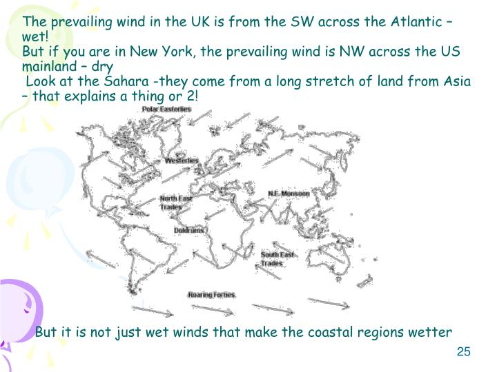 The prevailing wind in the UK is from the SW across the Atlantic – wet!