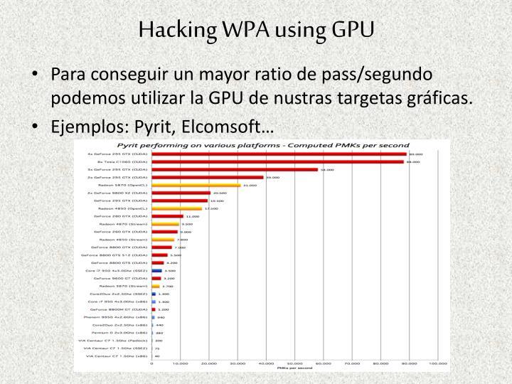 Hacking WPA using GPU