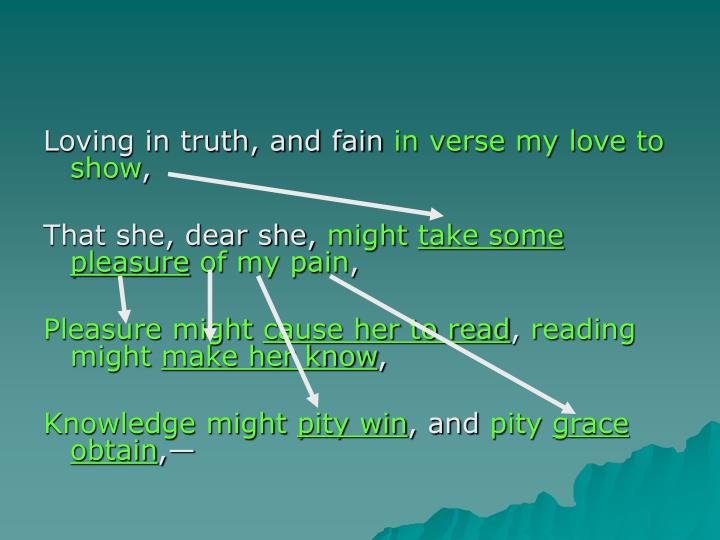 Loving in truth, and fain