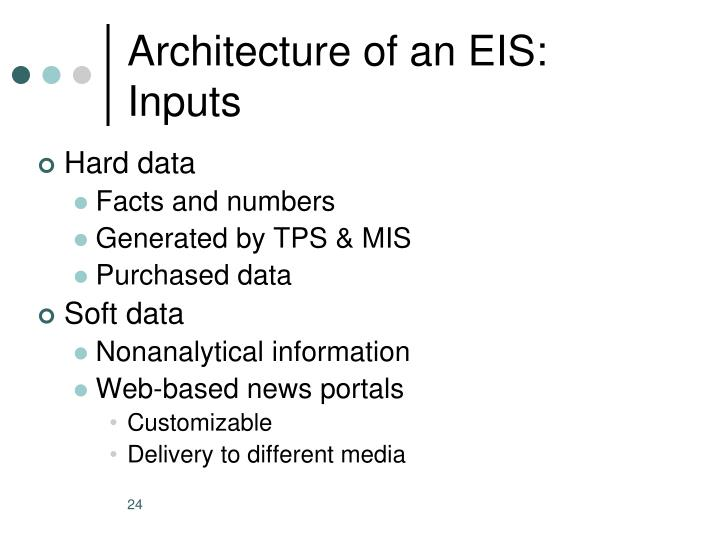Architecture of an EIS: Inputs