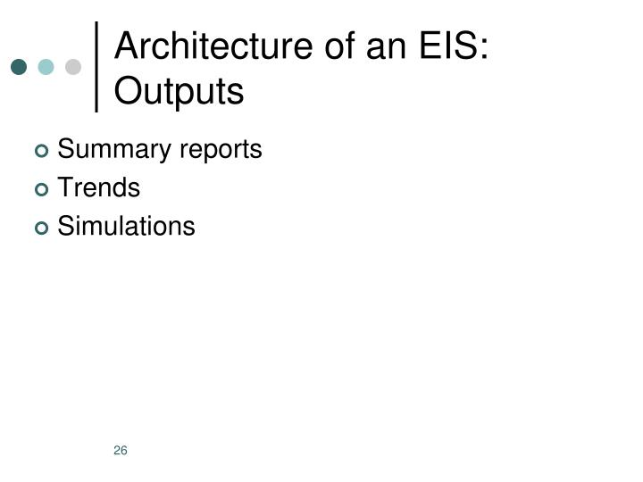 Architecture of an EIS: Outputs