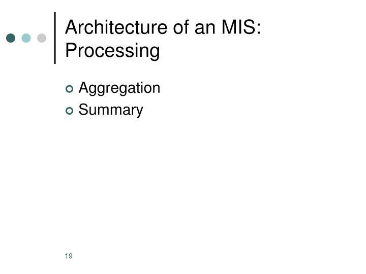 Architecture of an MIS: Processing