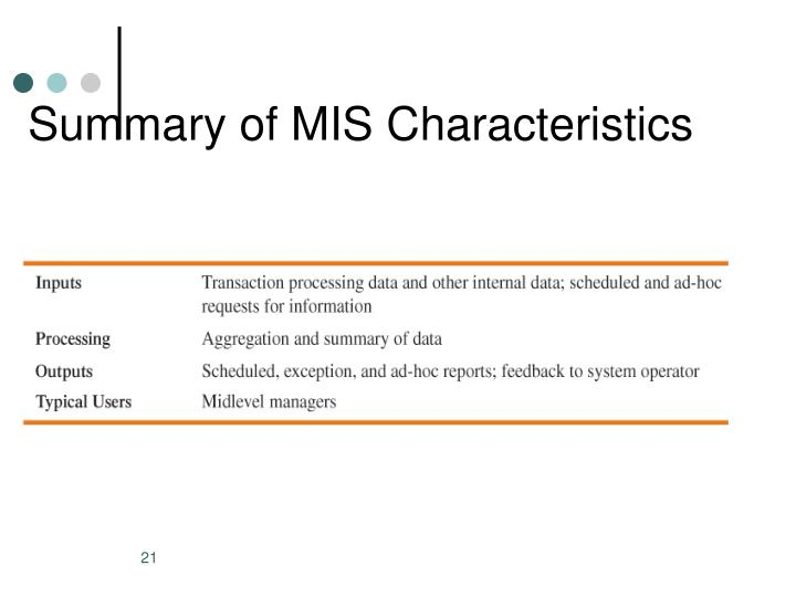 Summary of MIS Characteristics