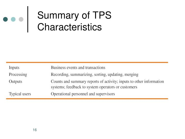 Summary of TPS