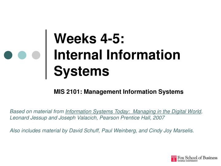 Weeks 4 5 internal information systems