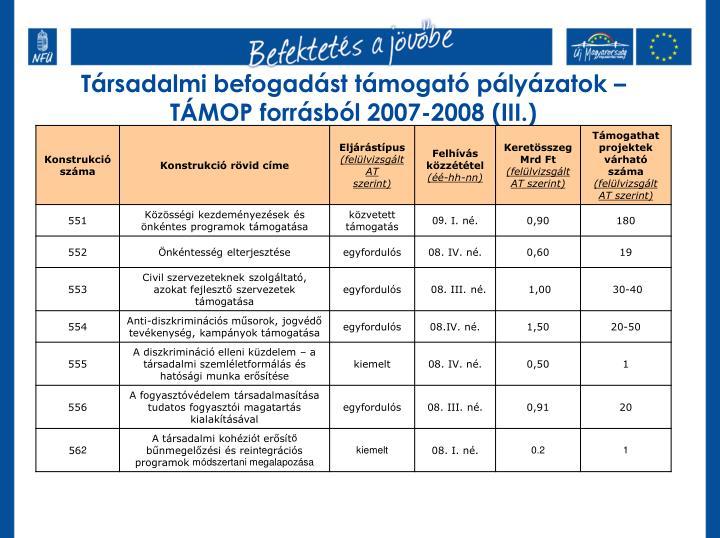 Társadalmi befogadást támogató pályázatok – TÁMOP forrásból 2007-2008 (III.)