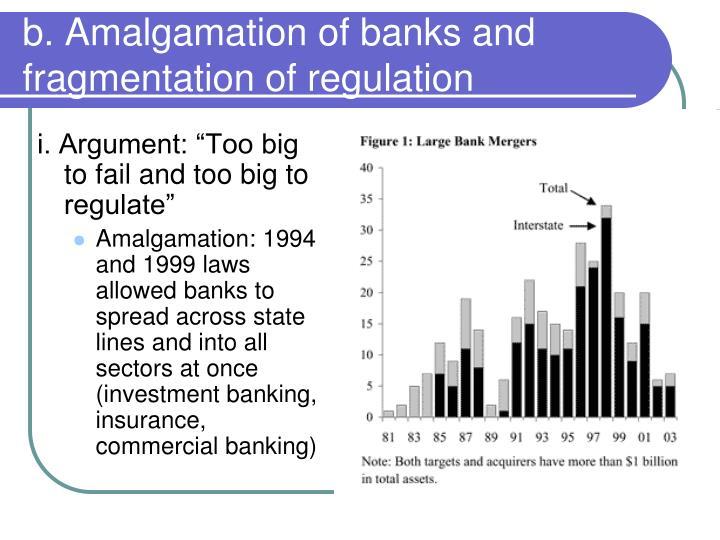 b. Amalgamation of banks and fragmentation of regulation