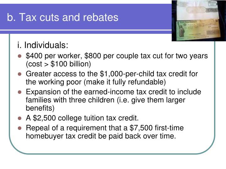 b. Tax cuts and rebates