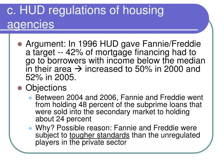 c. HUD regulations of housing agencies
