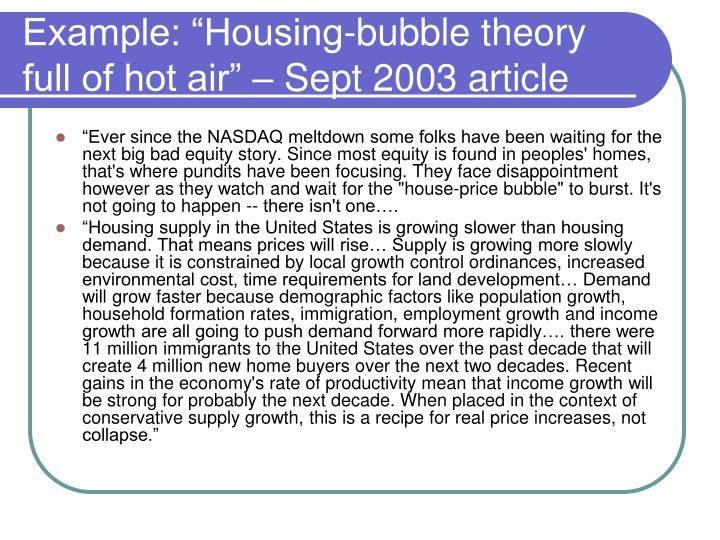 """Example: """"Housing-bubble theory full of hot air"""" – Sept 2003 article"""