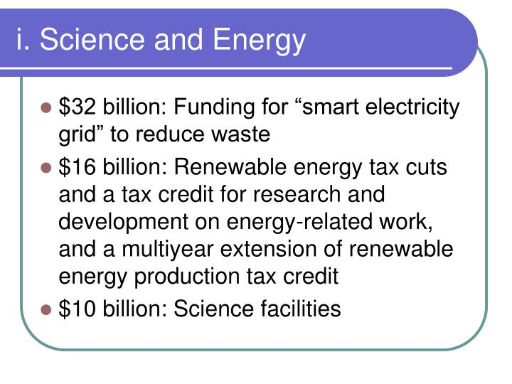 i. Science and Energy