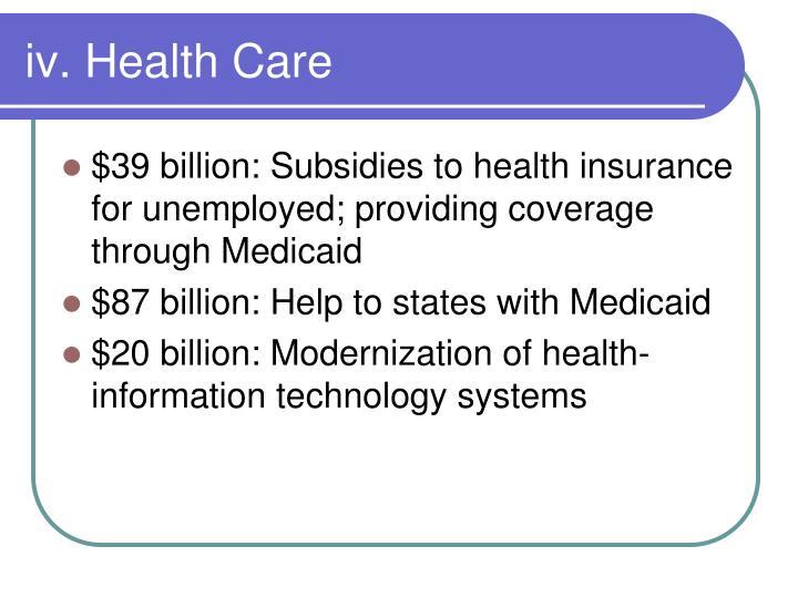 iv. Health Care