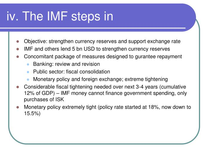 iv. The IMF steps in