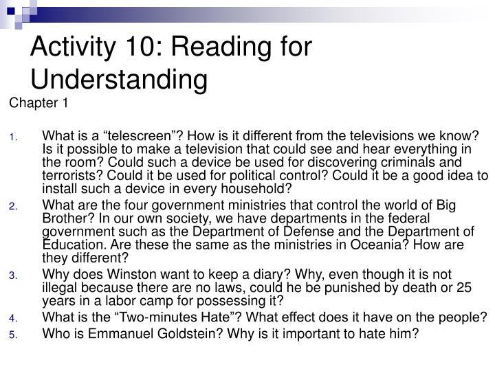 Activity 10: Reading for Understanding