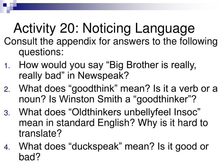 Activity 20: Noticing Language