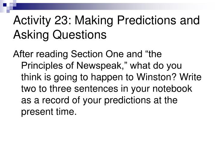 Activity 23: Making Predictions and Asking Questions