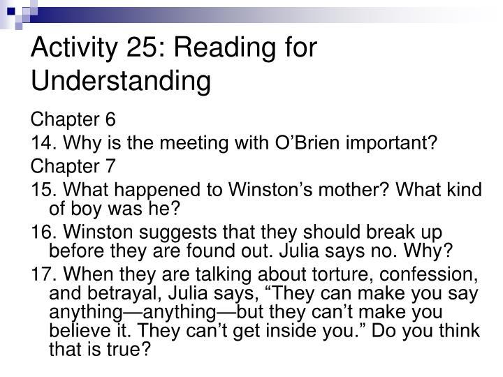 Activity 25: Reading for Understanding