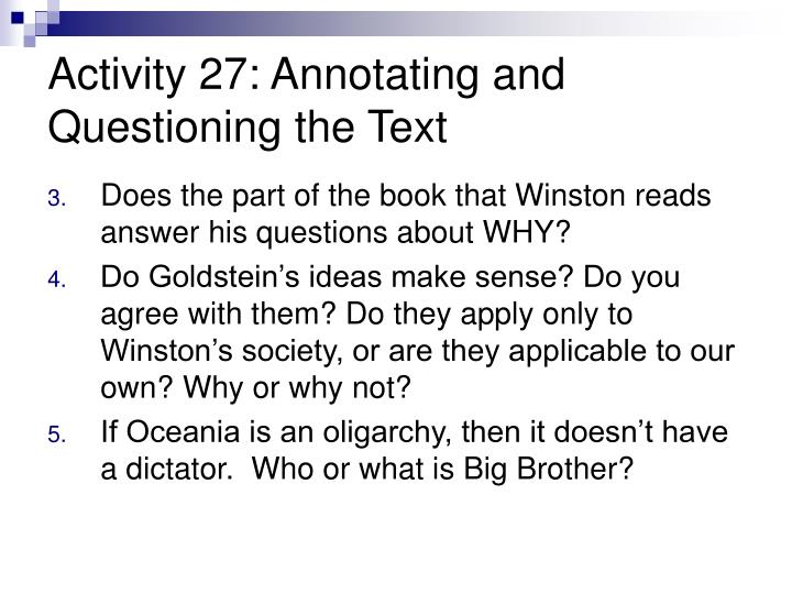 Activity 27: Annotating and Questioning the Text