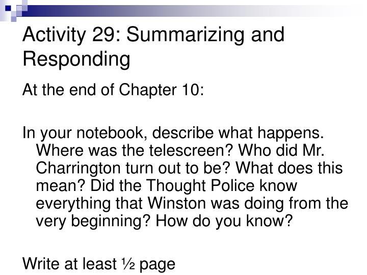 Activity 29: Summarizing and Responding
