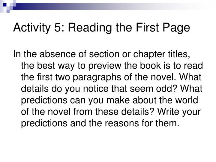 Activity 5: Reading the First Page