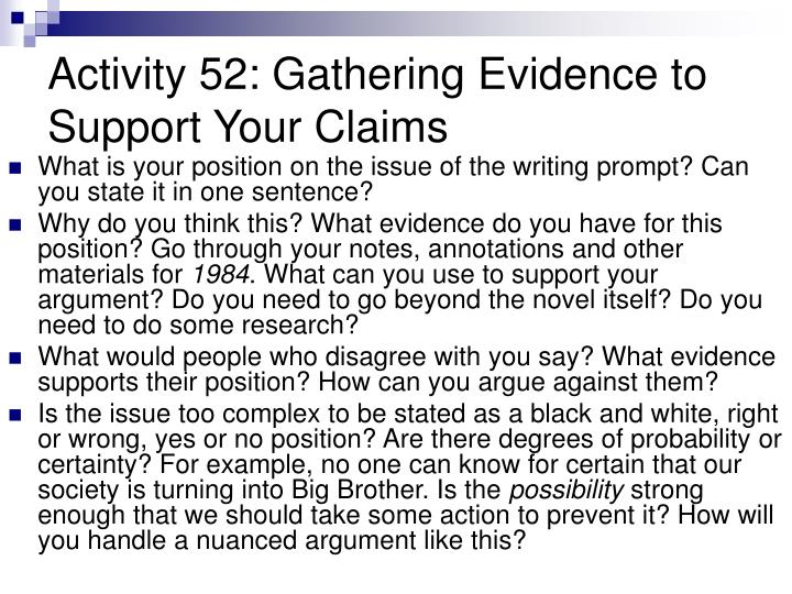 Activity 52: Gathering Evidence to Support Your Claims
