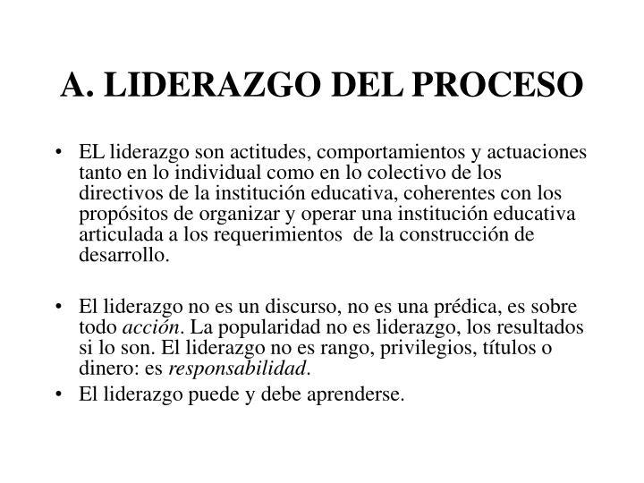 A. LIDERAZGO DEL PROCESO