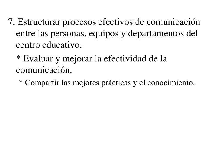 7. Estructurar procesos efectivos de comunicación entre las personas, equipos y departamentos del centro educativo.