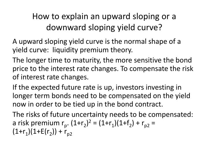 How to explain an upward sloping or a downward sloping yield curve?