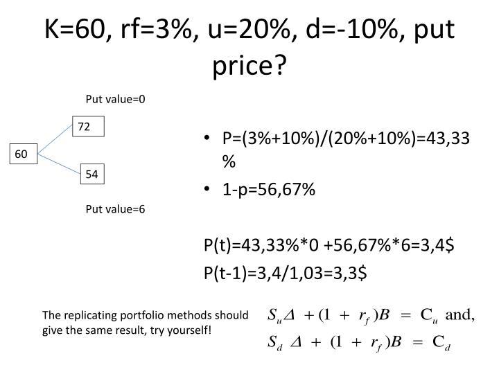 K=60, rf=3%, u=20%, d=-10%, put price?