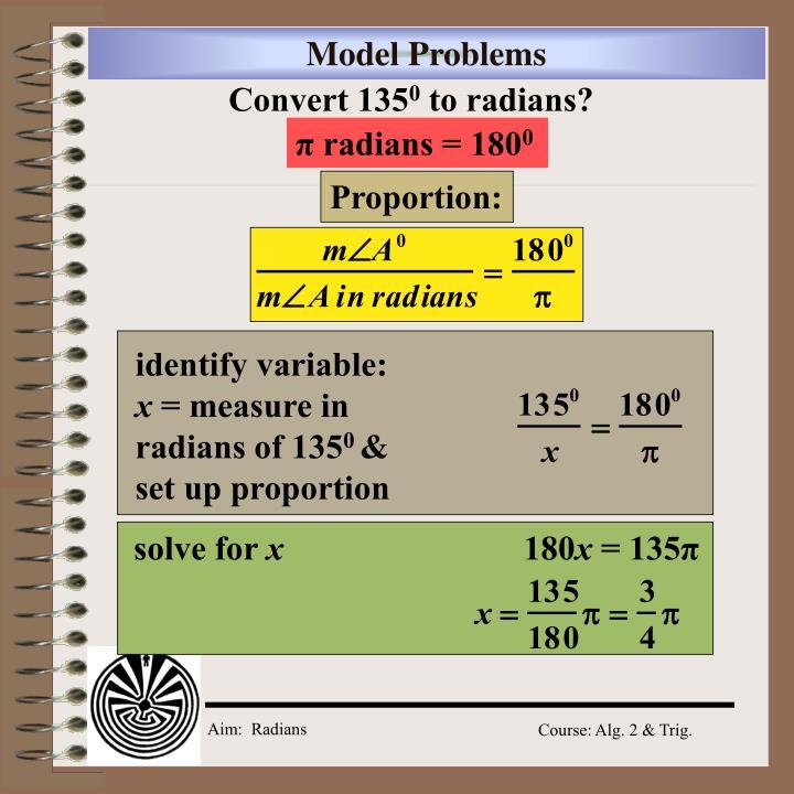 π radians = 180