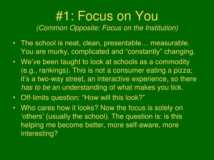 #1: Focus on You