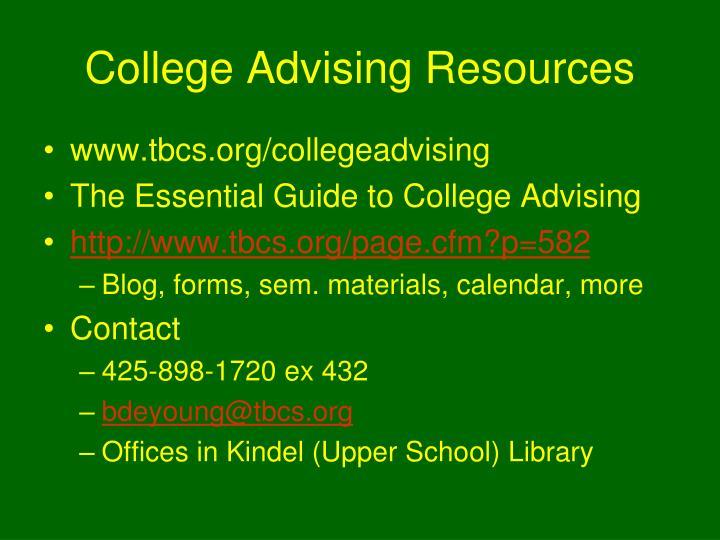 College Advising Resources