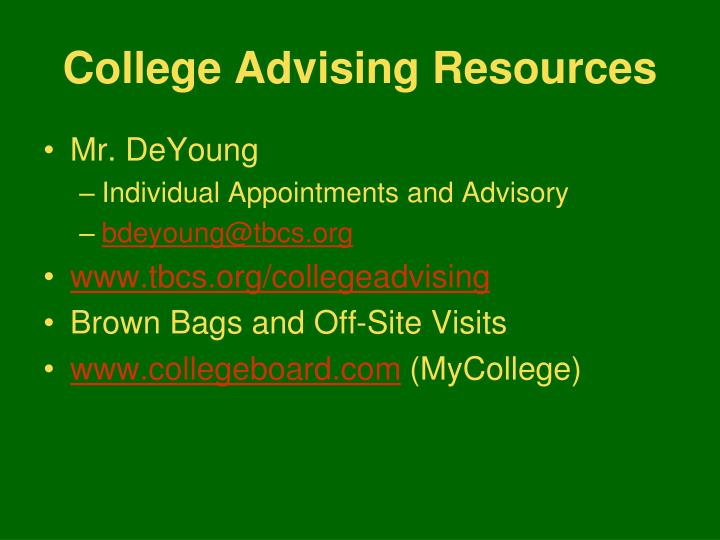 College Advising Resources