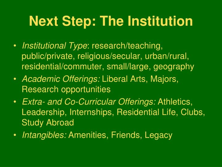 Next Step: The Institution