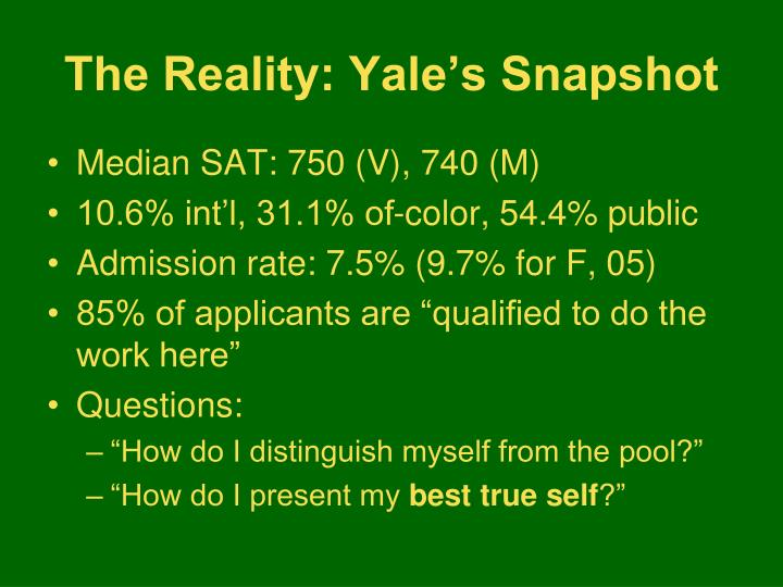 The Reality: Yale's Snapshot