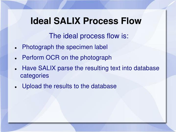 Ideal SALIX Process Flow