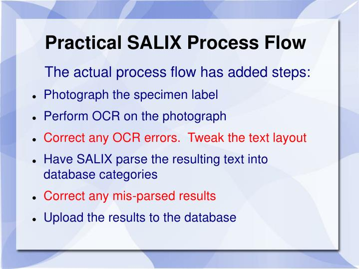 Practical SALIX Process Flow