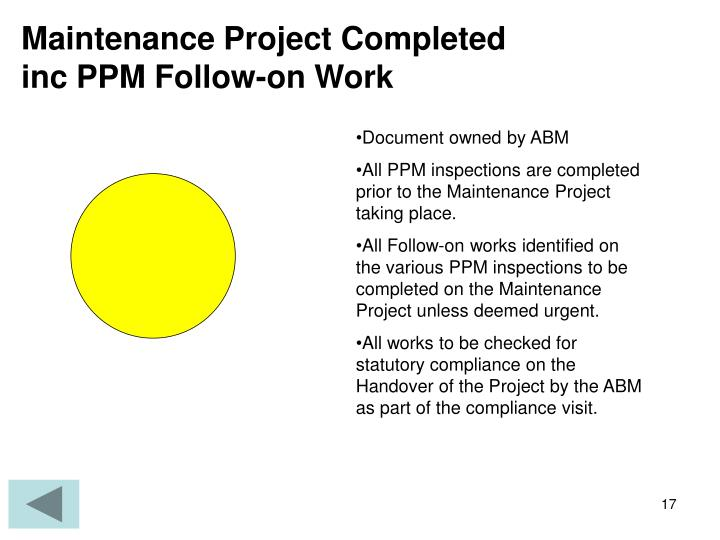 Maintenance Project Completed inc PPM Follow-on Work