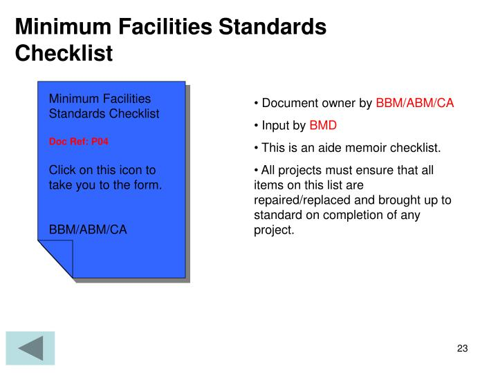 Minimum Facilities Standards Checklist