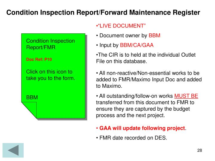 Condition Inspection Report/Forward Maintenance Register